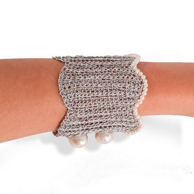 Handmade Silver Plated Knitted Crochet Large Bracelet with Freshwater Pearls - Anthos Crafts