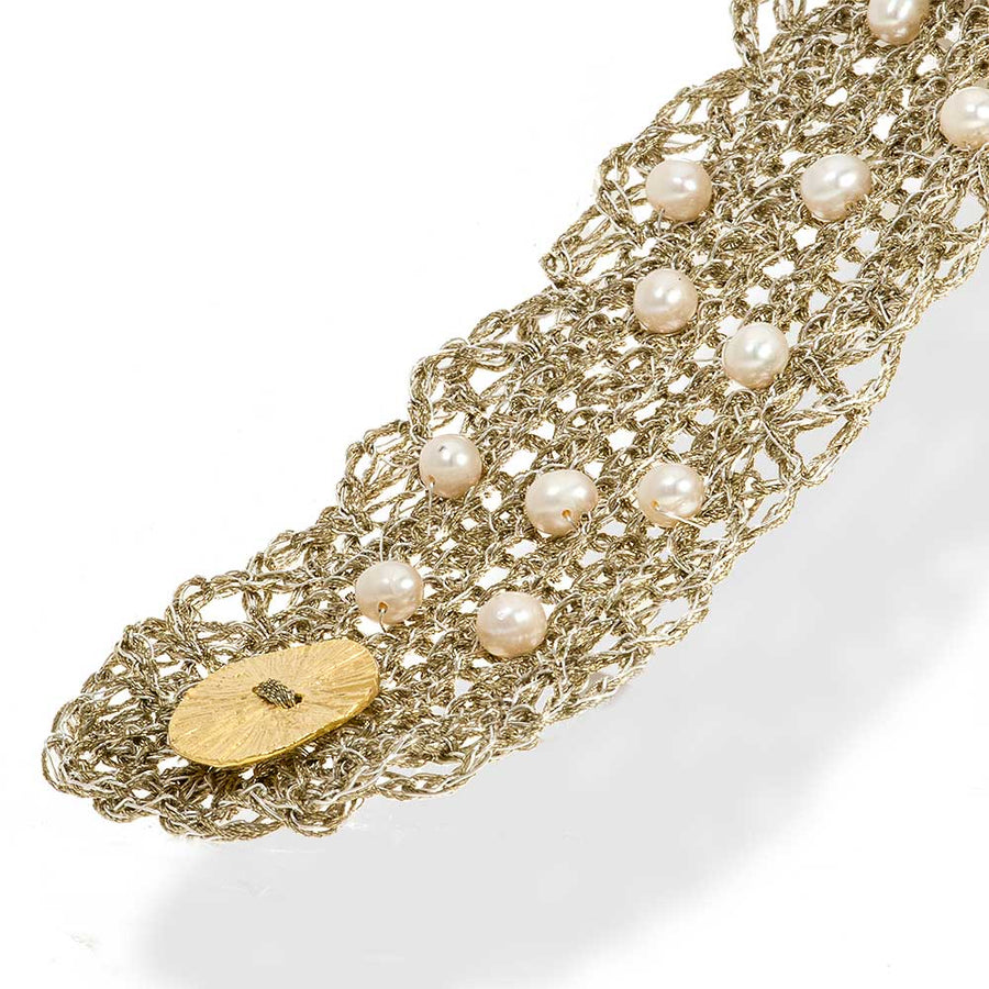 Handmade Gold Plated Crochet Knit Bracelet with Freshwater Pearls