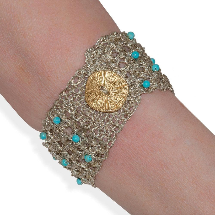 Handmade Gold Plated Knit Bracelet with Turquoise Stones