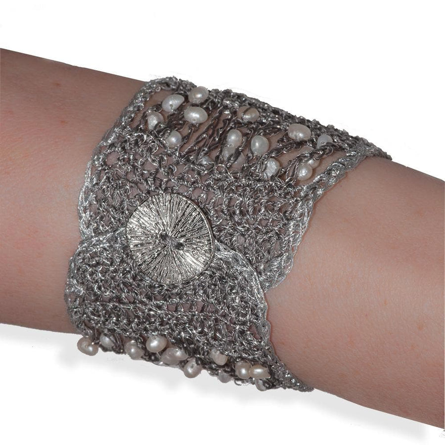 Handmade Silver & Black Plated Knitted Crochet Bracelet with Freshwater Pearls