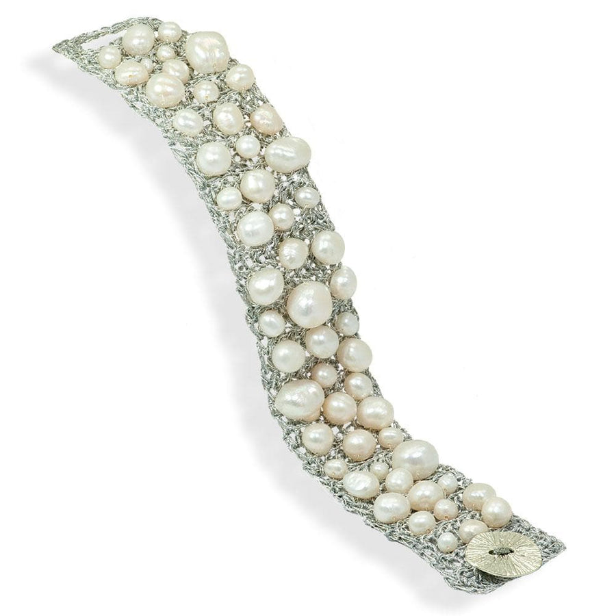 Handmade Silver Plated Crochet Knit Bracelet with Impressive Freshwater Pearls