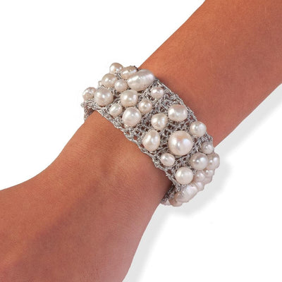 Handmade Silver Plated Crochet Knit Bracelet with Impressive Freshwater Pearls - Anthos Crafts