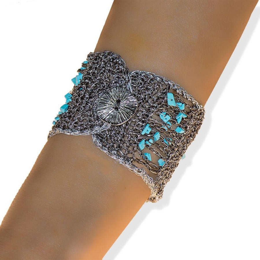 Handmade Silver & Black Plated Knitted Crochet Bracelet with Turquoise Stones - Anthos Crafts