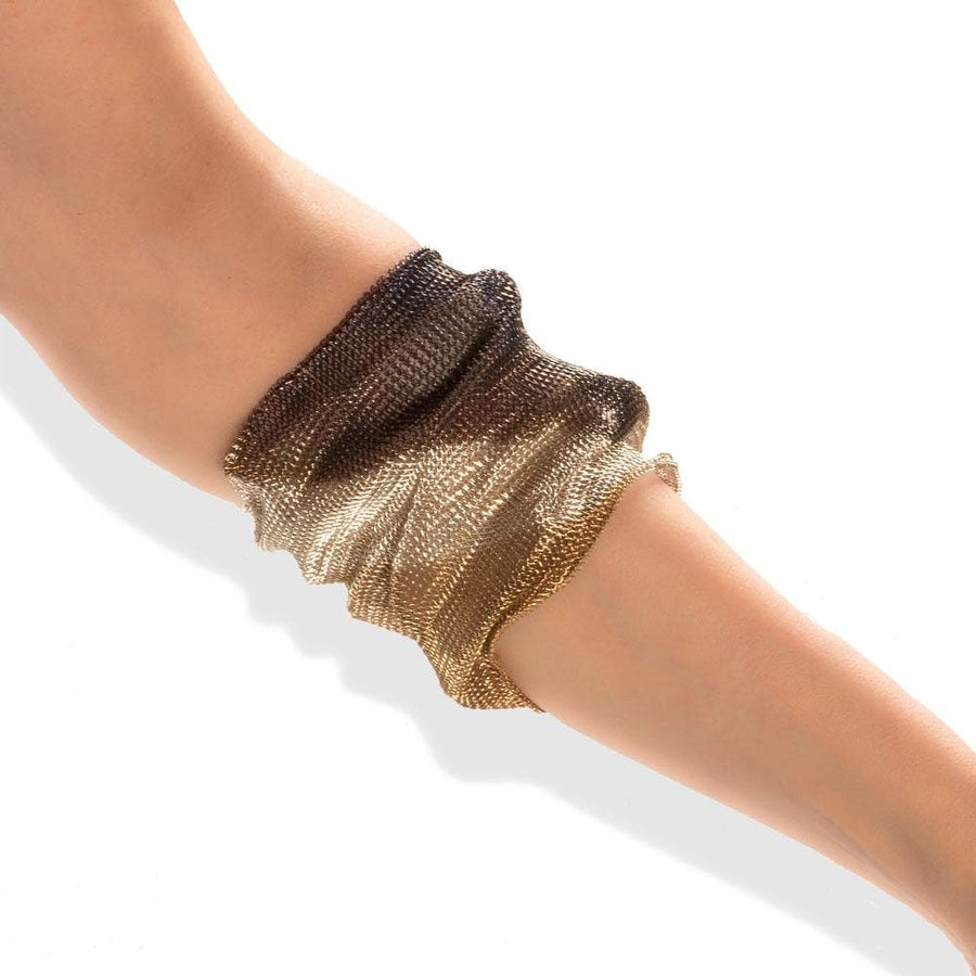 Handmade Woven Dark Gold & Silver Plated Oxidized Crumpled Bracelet - Anthos Crafts