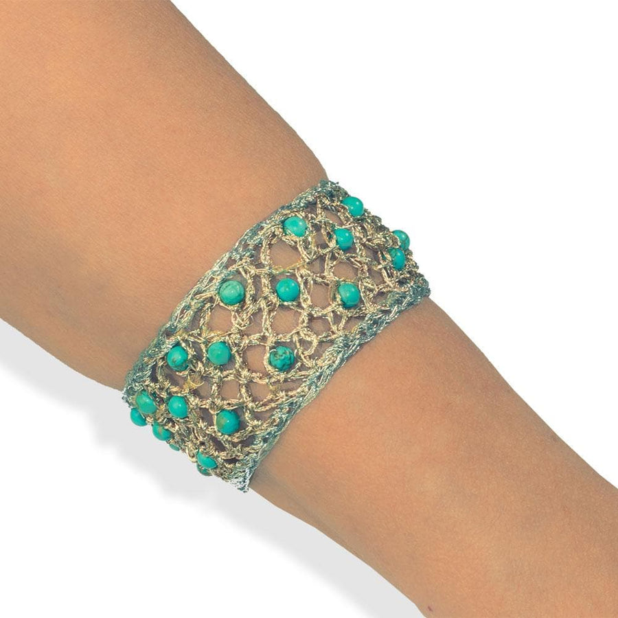 Handmade Gold & Silver Plated Crochet Knit Bracelet with Turquoise Gemstones