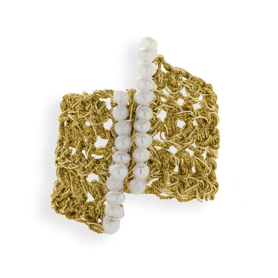 Handmade Gold Plated Crochet Knit Ring With 2 Rows of Pearls - Anthos Crafts