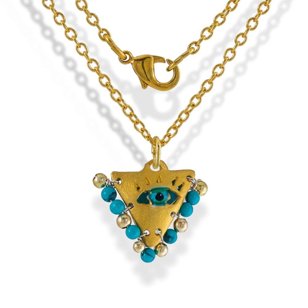 Handmade Gold Plated Silver Lucky Charm Short Necklace Evil Eye with Turquoise - Anthos Crafts