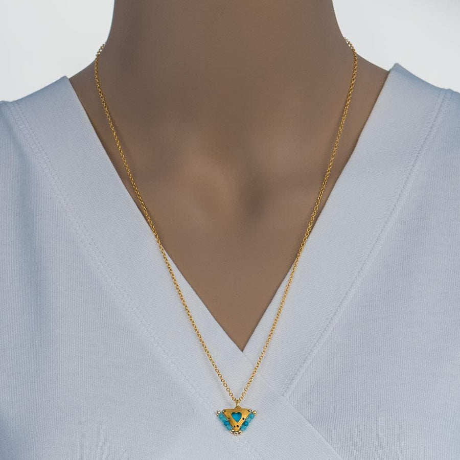 Handmade Gold Plated Silver Lucky Charm Short Necklace With Sky Blue Enamel Heart And Agate Gemstones