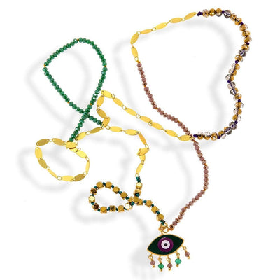 Handmade Gold Plated Bronze Boho Green Purple Evil Eye Long Necklace with Gemstones - Anthos Crafts