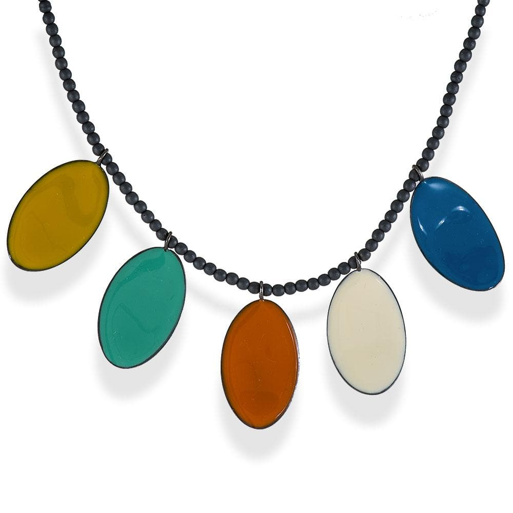 Handmade Hematite Necklace with Rhodium Plated Silver Multicolor Enamel Leaves - Anthos Crafts