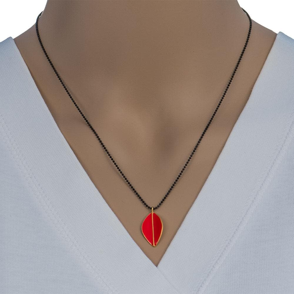 Handmade Black Plated Silver Necklace with Orange Enamel Leave Pendant - Anthos Crafts