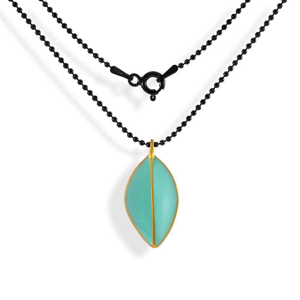 Handmade Black Plated Silver Necklace with Light Green Enamel Leave Pendant - Anthos Crafts