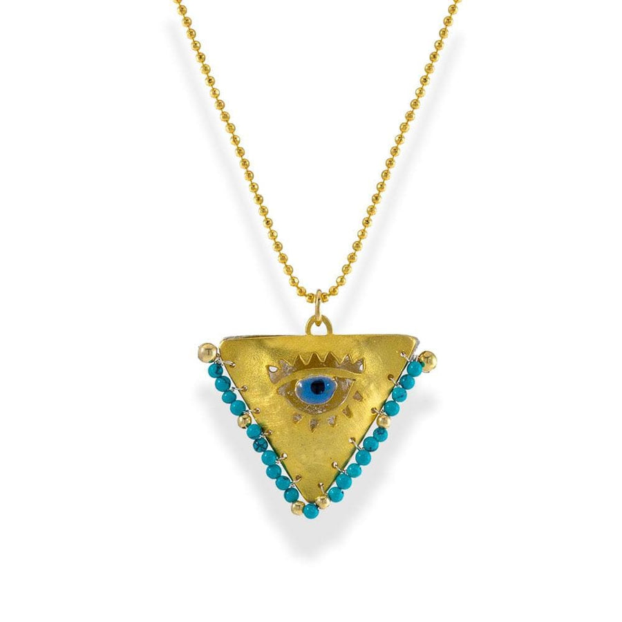 Handmade Gold Plated Silver Lucky Charm Long Necklace Evil Eye with Turquoise Gemstones - Anthos Crafts