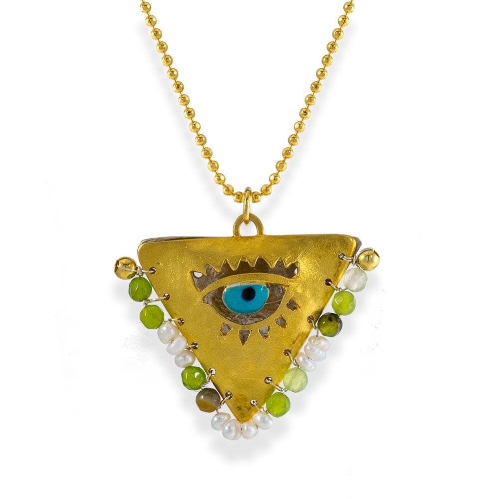 Handmade Gold Plated Silver Lucky Charm Long Necklace Evil Eye with Agate & Pearls - Anthos Crafts