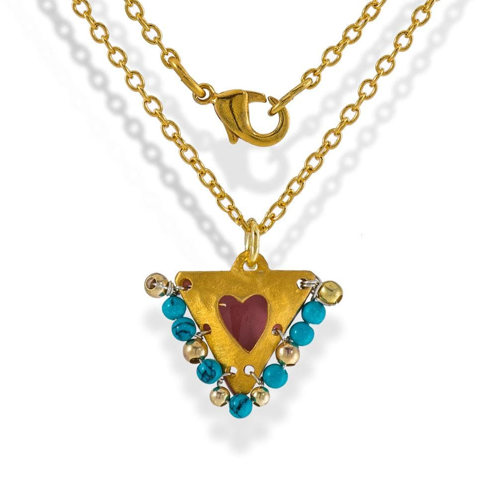Handmade Gold Plated Silver Lucky Charm Short Necklace With Pink Enamel Heart And Turquoise Gemstones - Anthos Crafts