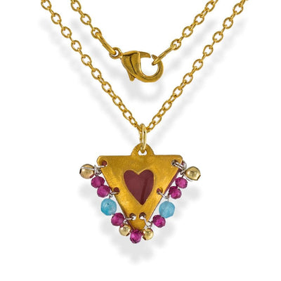 Handmade Gold Plated Silver Lucky Charm Short Necklace With Pink Enamel Heart And Agate Gemstones - Anthos Crafts