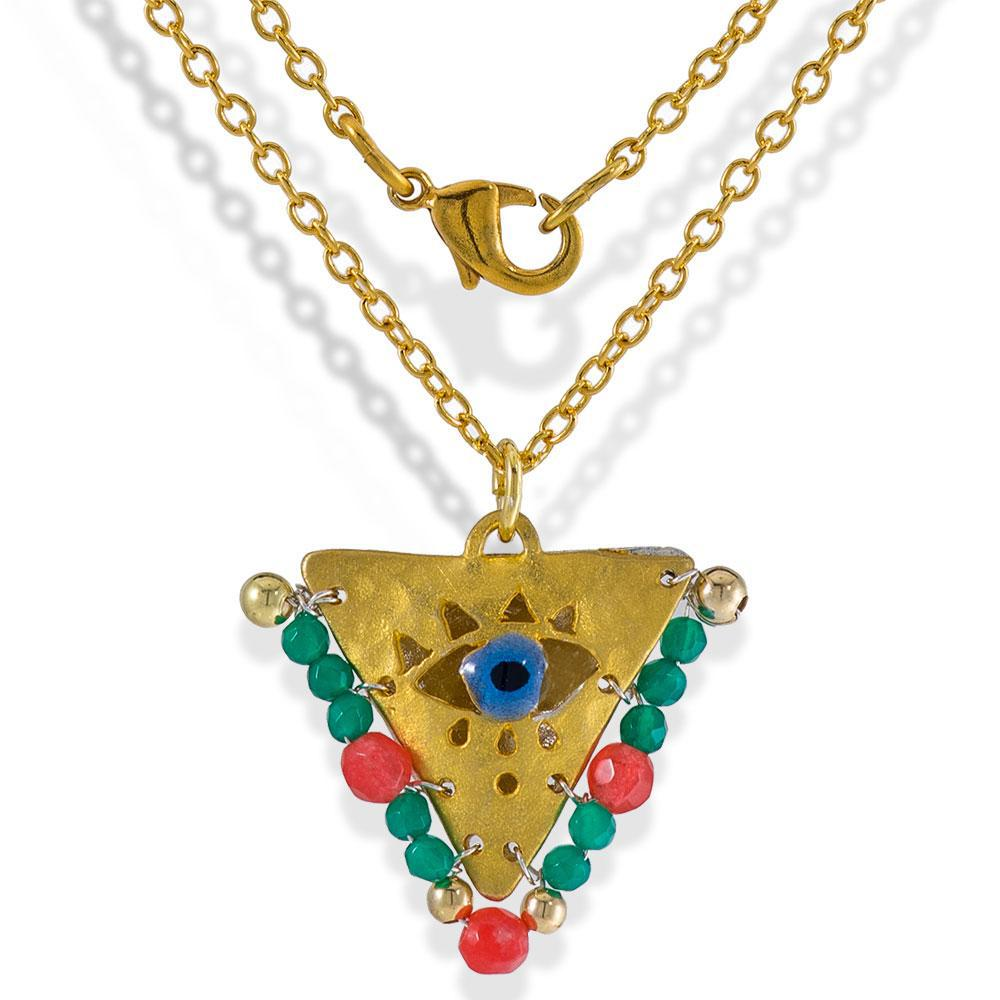 Handmade Gold Plated Silver Lucky Charm Short Necklace Evil Eye with Turquoise & Pink Gemstones - Anthos Crafts