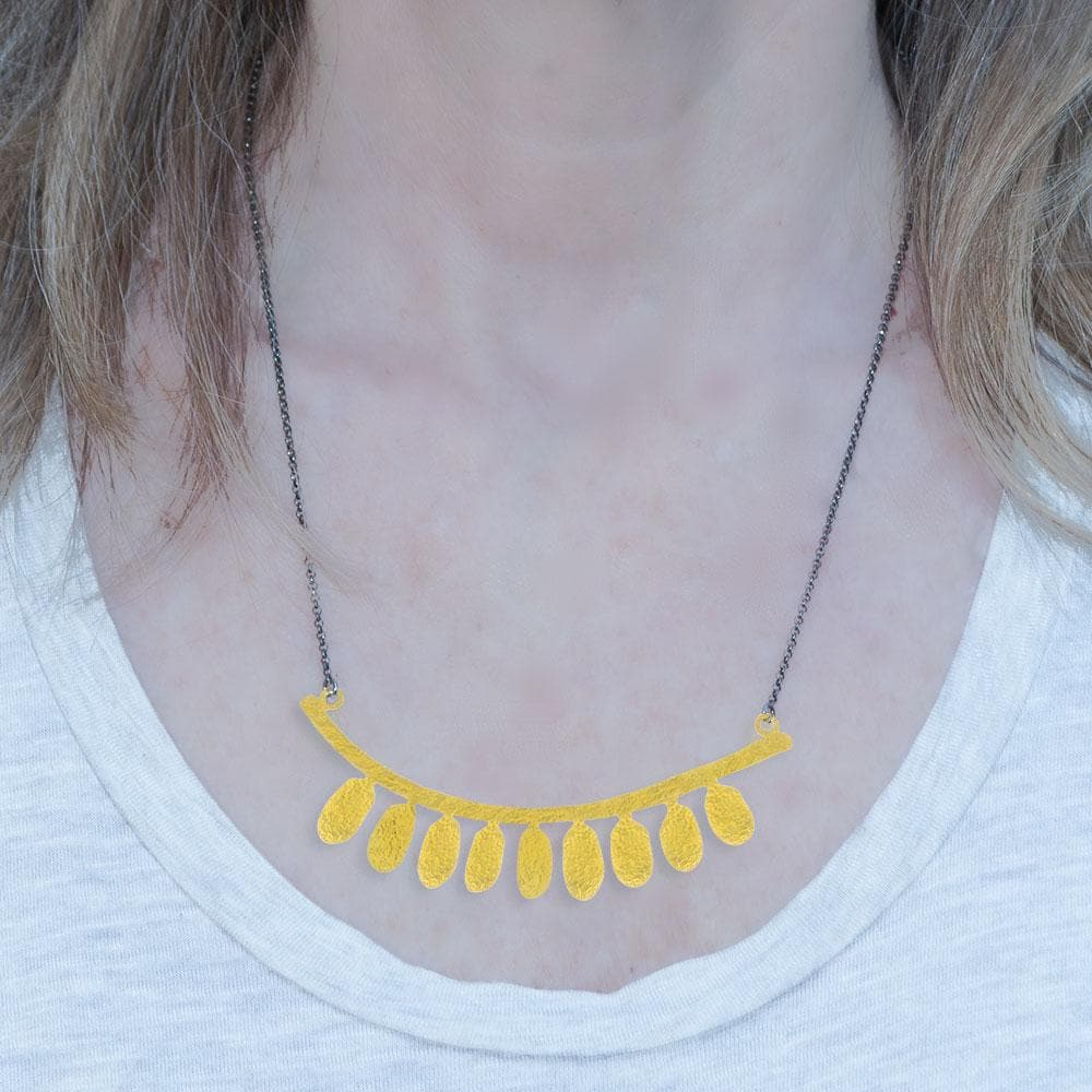 Handmade Gold Plated Silver Boho Short Necklace - Anthos Crafts