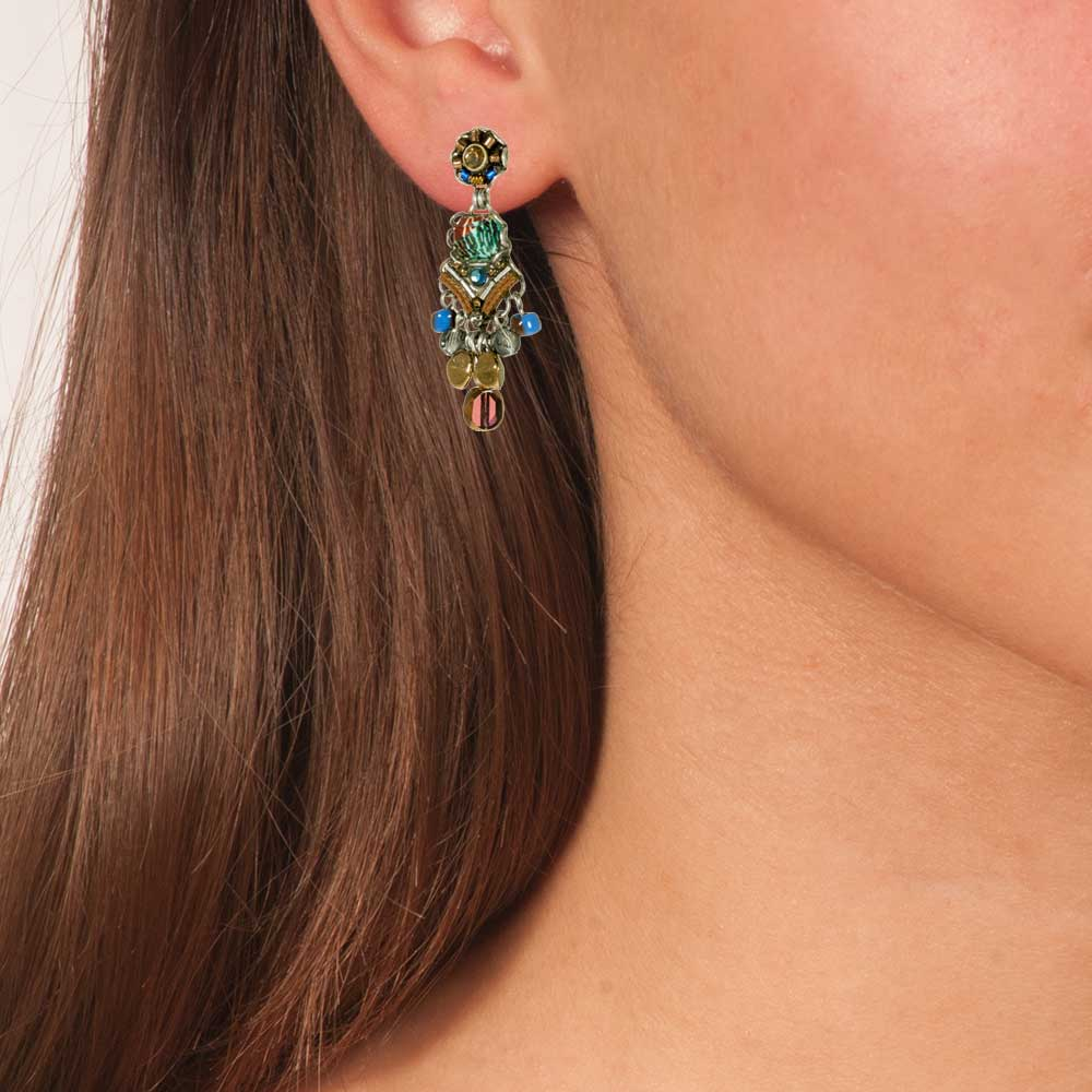 Boho Chandelier Vintage Earrings Pine - Anthos Crafts