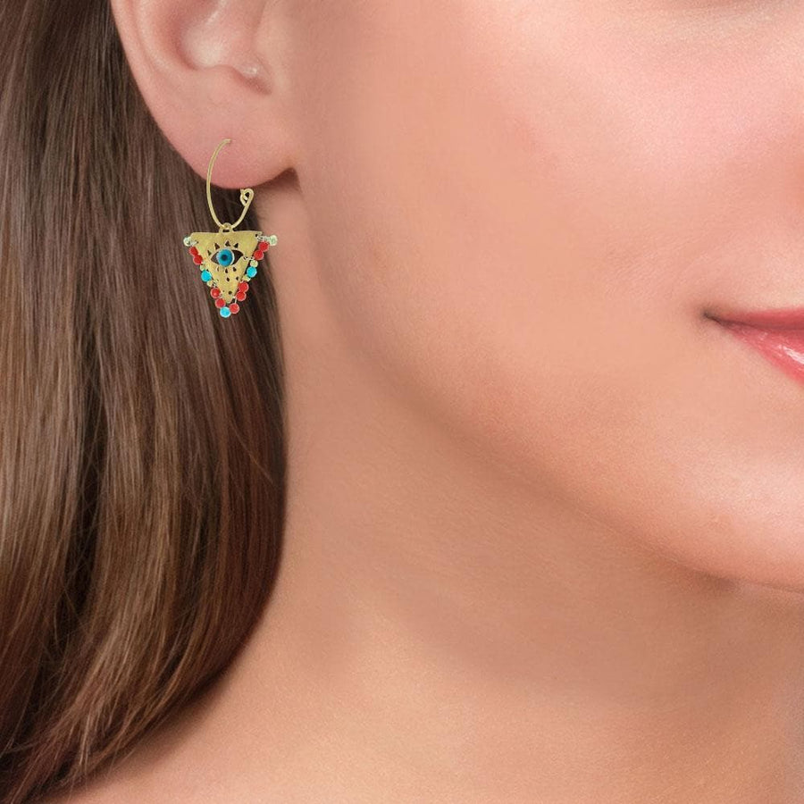 Handmade Gold Plated Silver Lucky Charm Dangle Earrings Evil Eye with Corals - Anthos Crafts