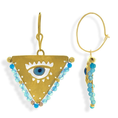 Handmade Gold Plated Silver Lucky Charm Dangle Earrings Evil Eye with Sky Blue Agate Gemstones - Anthos Crafts