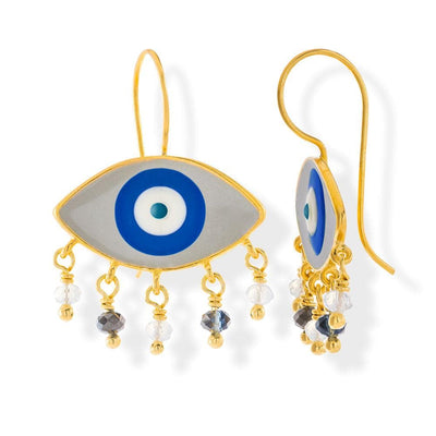 Handmade Gold Plated Silver Enamel Evil Eye Earrings Gray Navy with Gemstones - Anthos Crafts