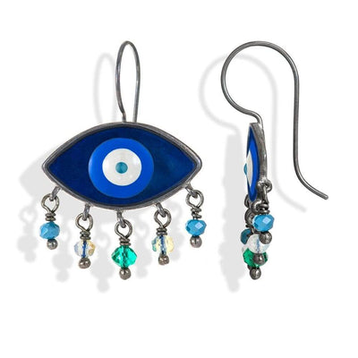 Handmade Black Plated Silver Enamel Evil Eye Earrings Navy Gray with Gemstones - Anthos Crafts