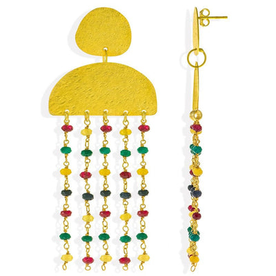 Handmade Gold Plated Silver Rainbow Rain Long Earrings with Multicolor Gemstones - Anthos Crafts