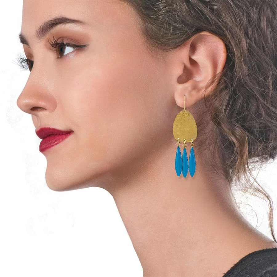 Handmade Gold Plated Silver Boho Earrings Turquoise Enamel Leaves - Anthos Crafts