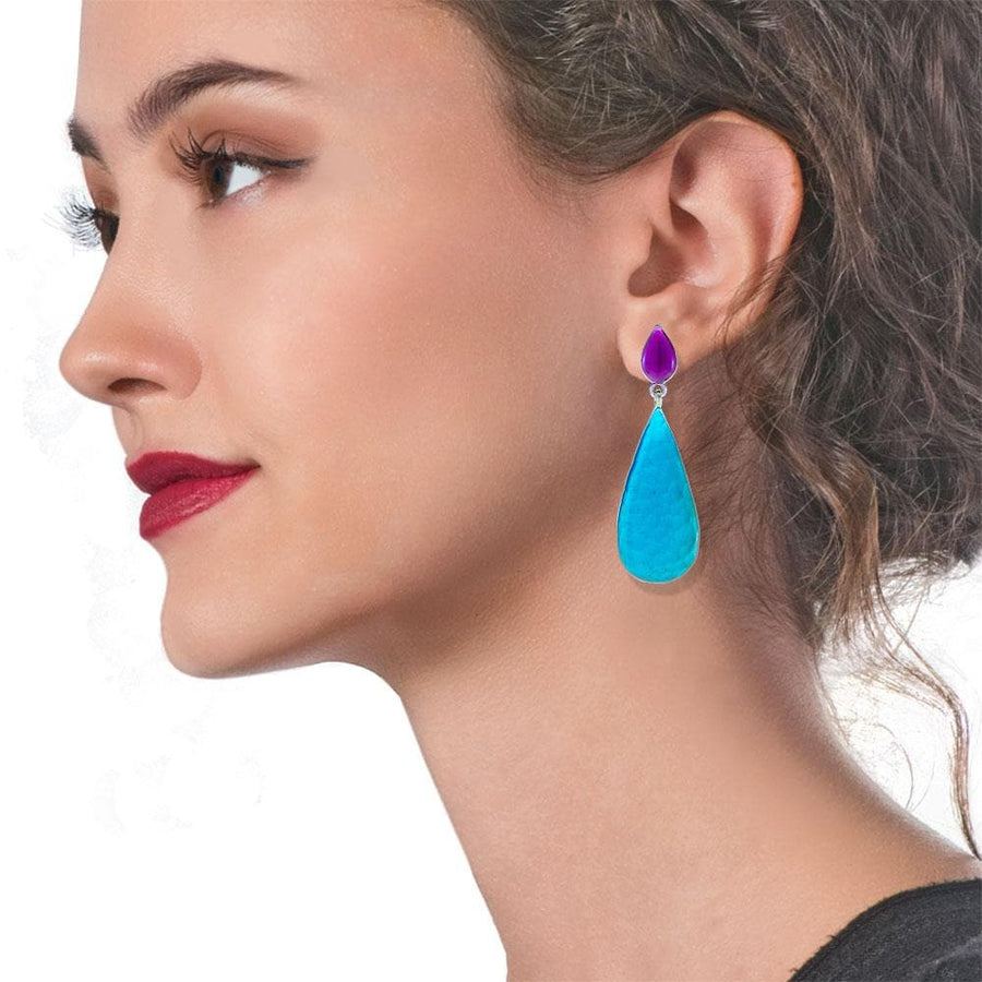 Handmade Silver Dangle Earrings With Turquoise Enamel Tears - Anthos Crafts