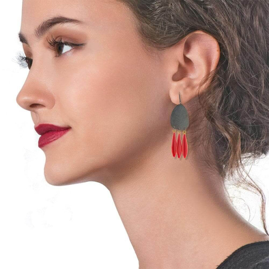 Handmade Black Plated Silver Boho Earrings Red Enamel Leaves