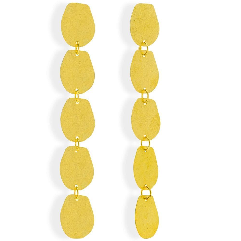 Handmade Gold Plated Silver Long Boho Earrings - Anthos Crafts