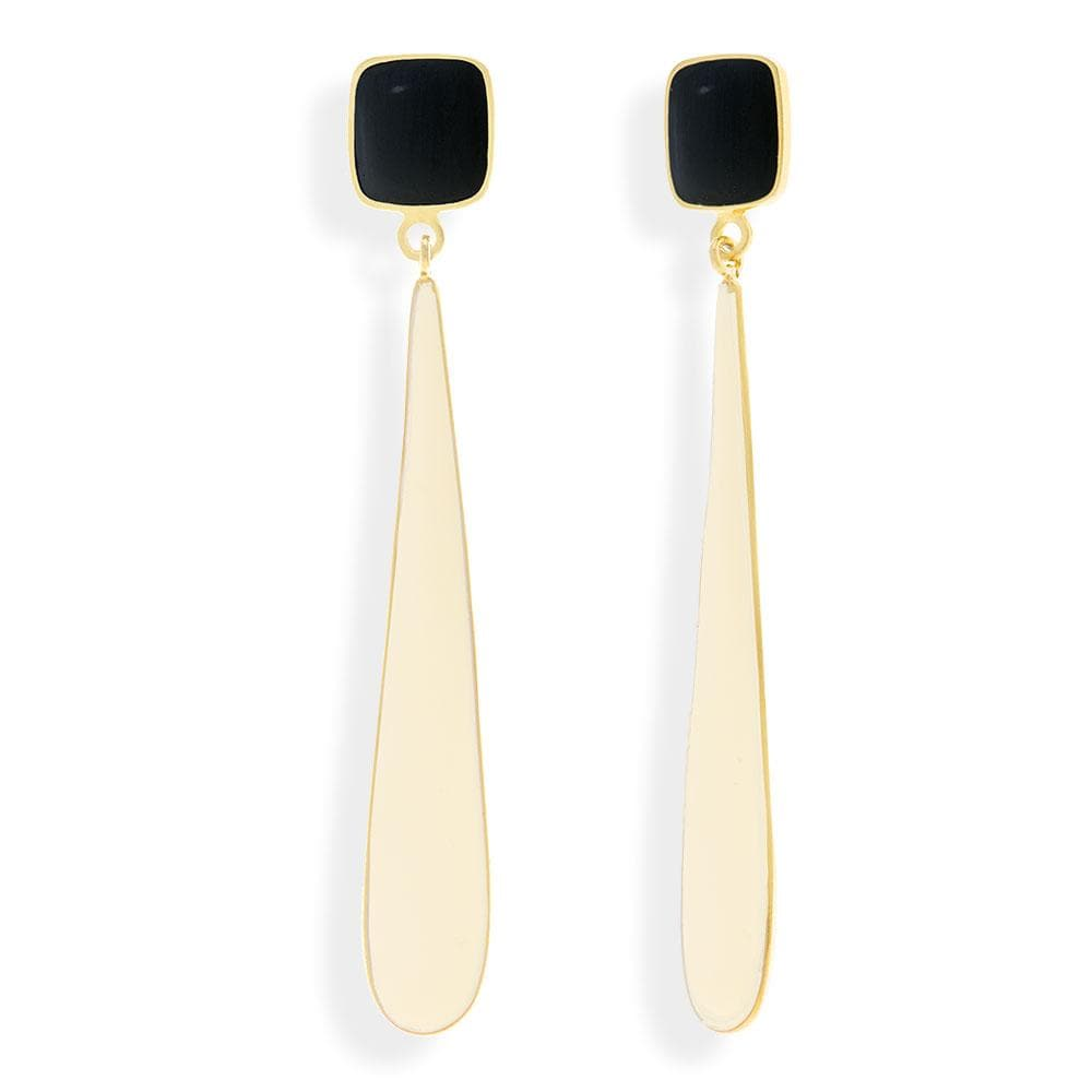 Handmade Gold Plated Silver Long Earrings With Black & Ecru Enamel - Anthos Crafts