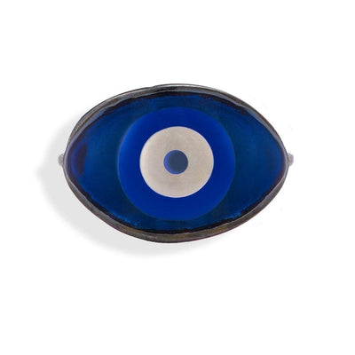 Handmade Black Plated Silver Ring With A Gray Navy Enamel Evil Eye - Anthos Crafts