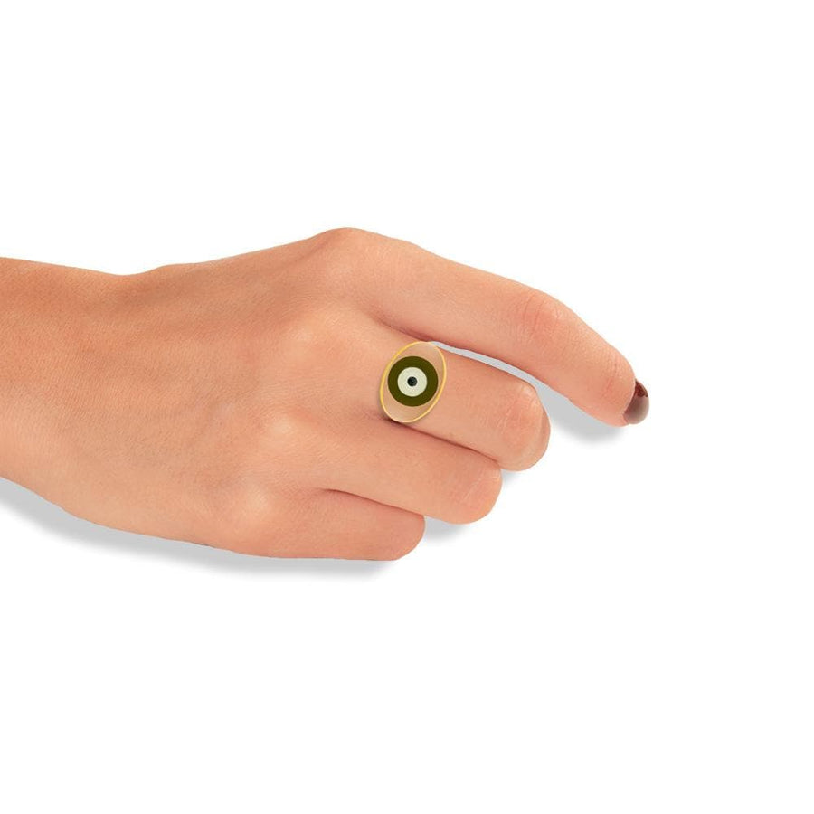 Handmade Gold Plated Silver Ring With A Pink & Olive Enamel Evil Eye - Anthos Crafts