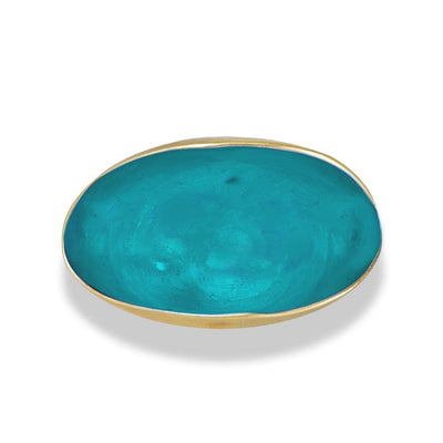 Handmade Gold Plated Silver Turquoise Enamel Pistachio Ring - Anthos Crafts