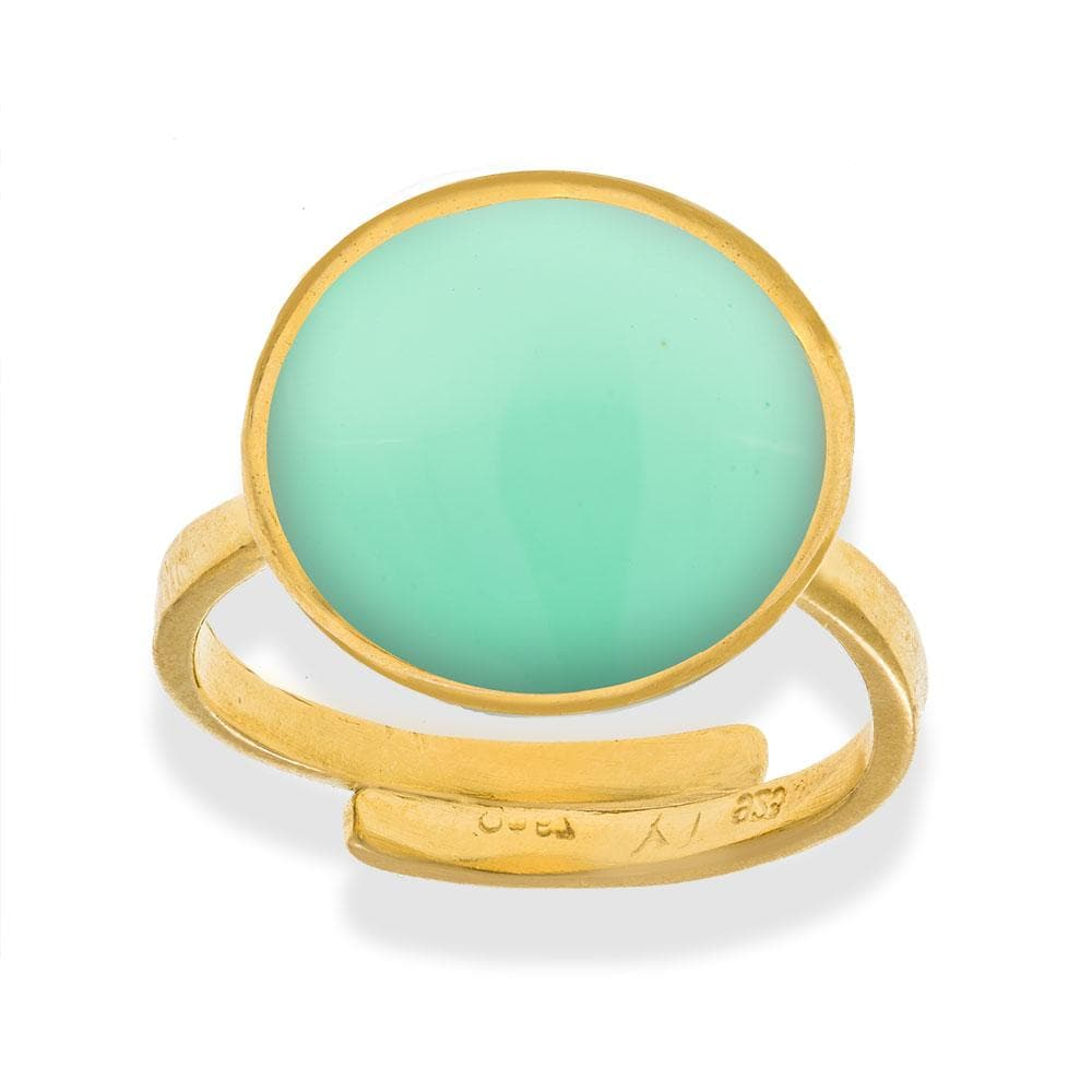 Handmade Gold Plated Silver Light Green Enamel Ring - Anthos Crafts