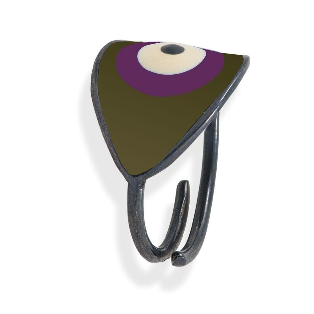 Handmade Black Plated Silver Ring With A Chaki Purple Enamel Evil Eye - Anthos Crafts