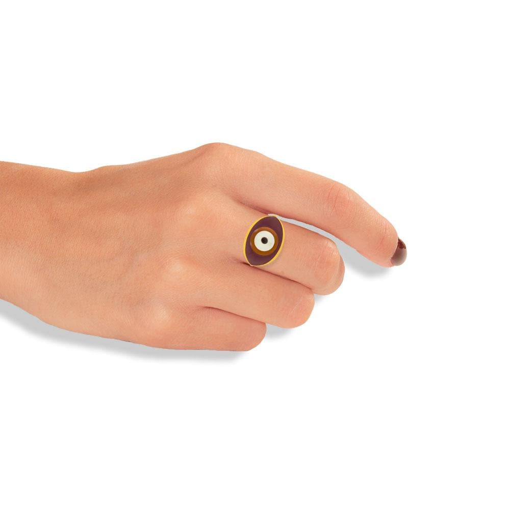 Handmade Gold Plated Silver Ring With A Burgundy Chestnut Enamel Evil Eye - Anthos Crafts