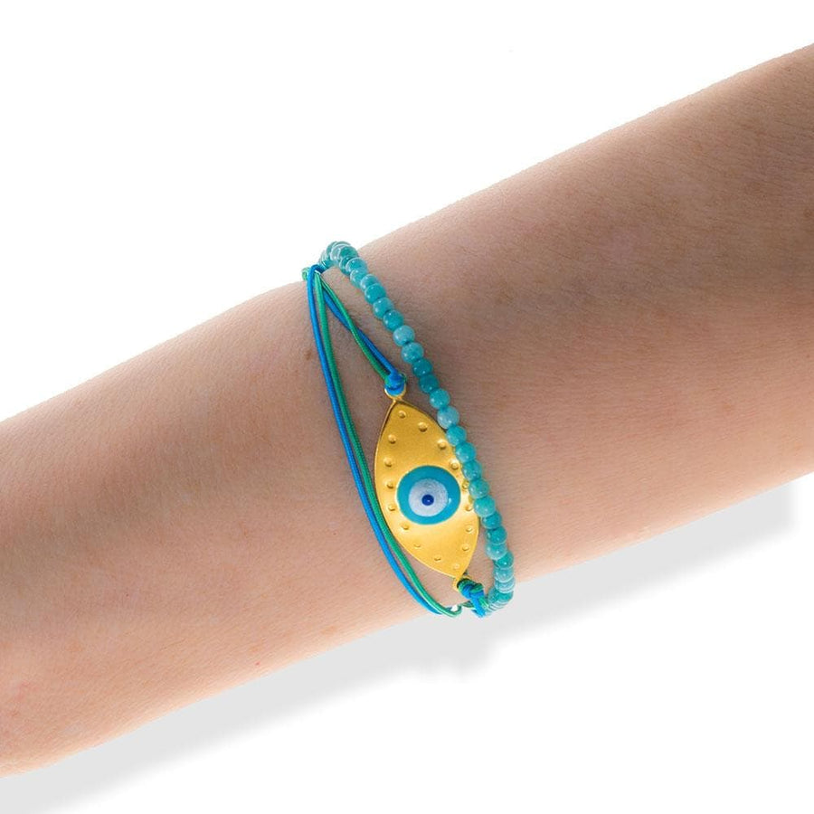 Handmade Gold Plated Silver Turquoise Enamel Evil Eye Bracelet - Anthos Crafts