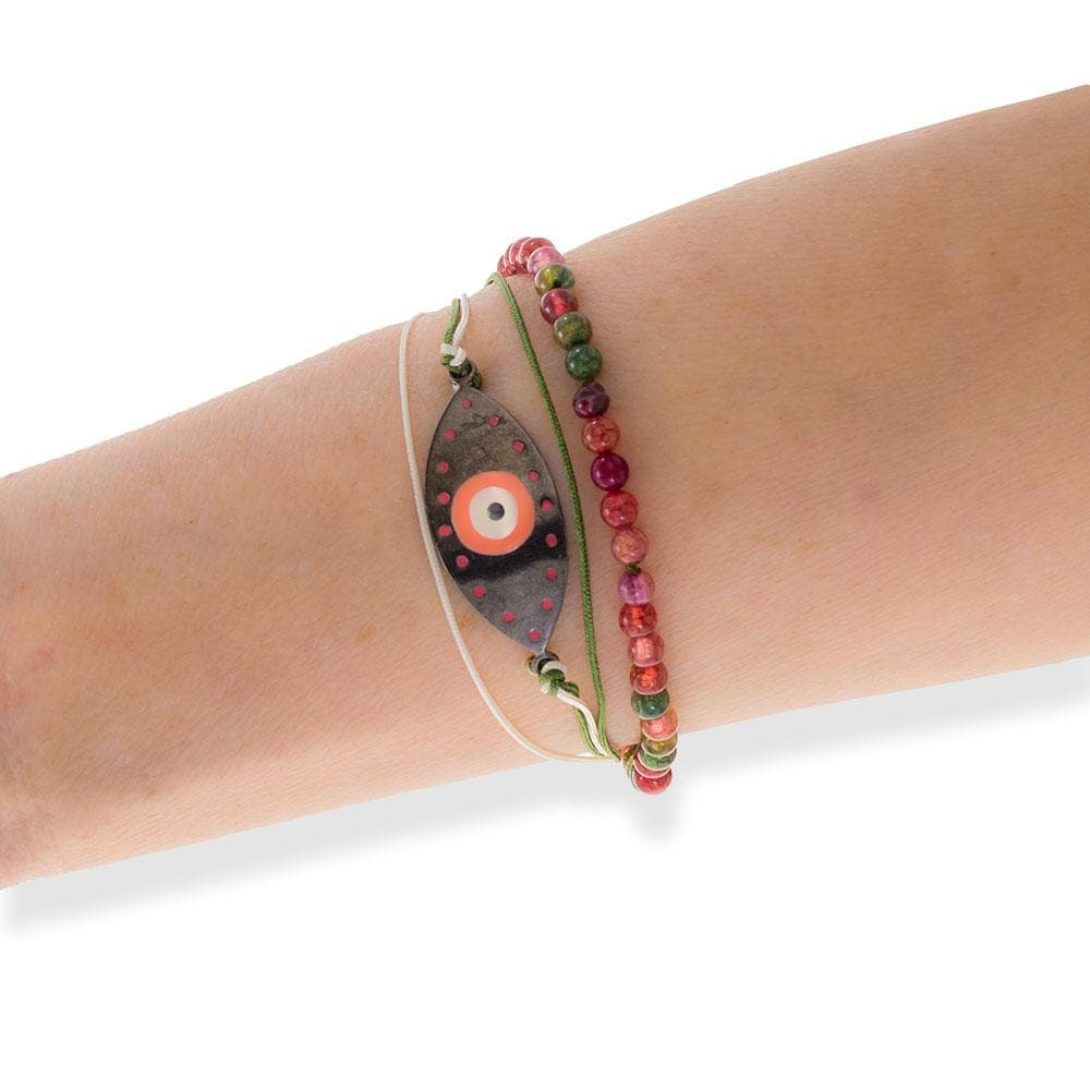 Handmade Black Plated Silver Pink Enamel Evil Eye Bracelet With Multicolor Agate - Anthos Crafts