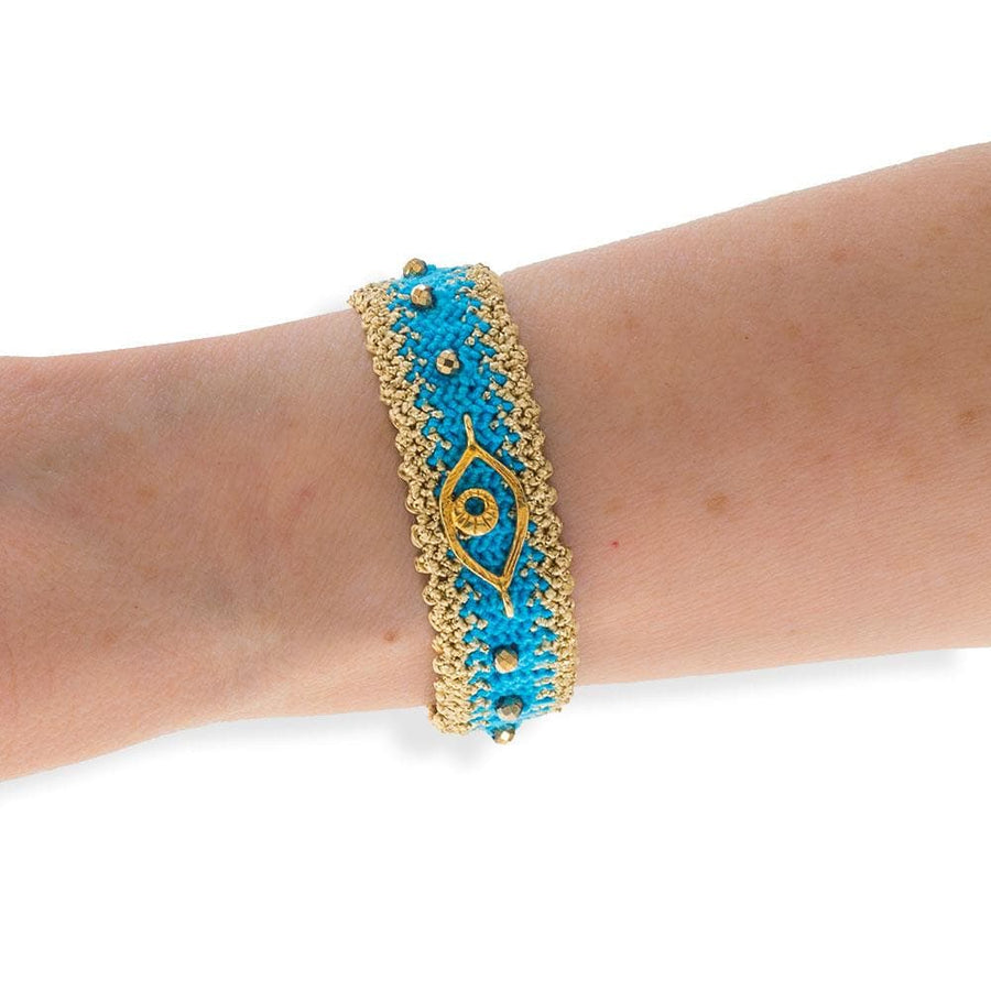 Handmade Macrame Turquoise Gold Evil Eye Bracelet - Anthos Crafts