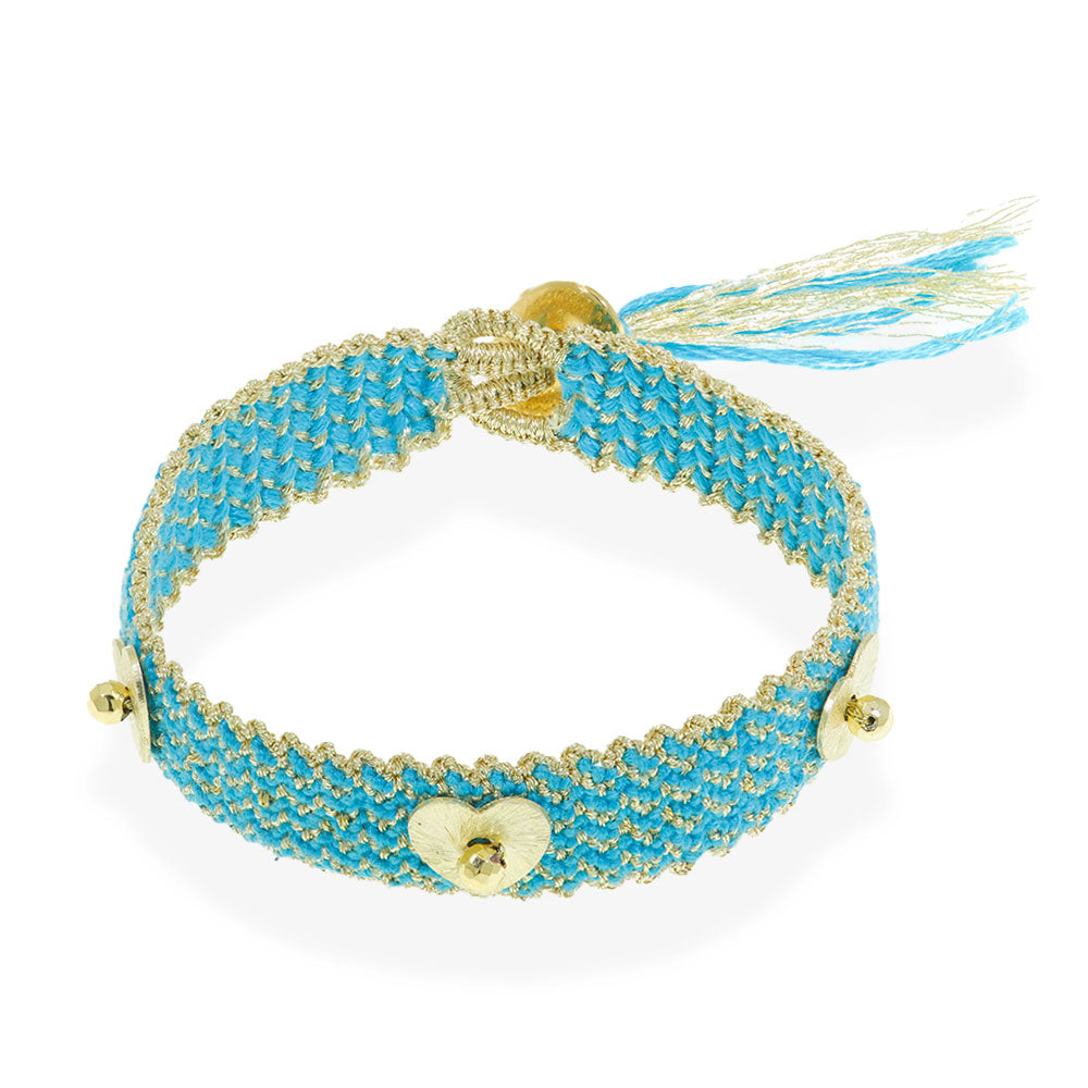 Handmade Macrame Turquoise Gold Bracelet With Gold Plated Wings - Anthos Crafts