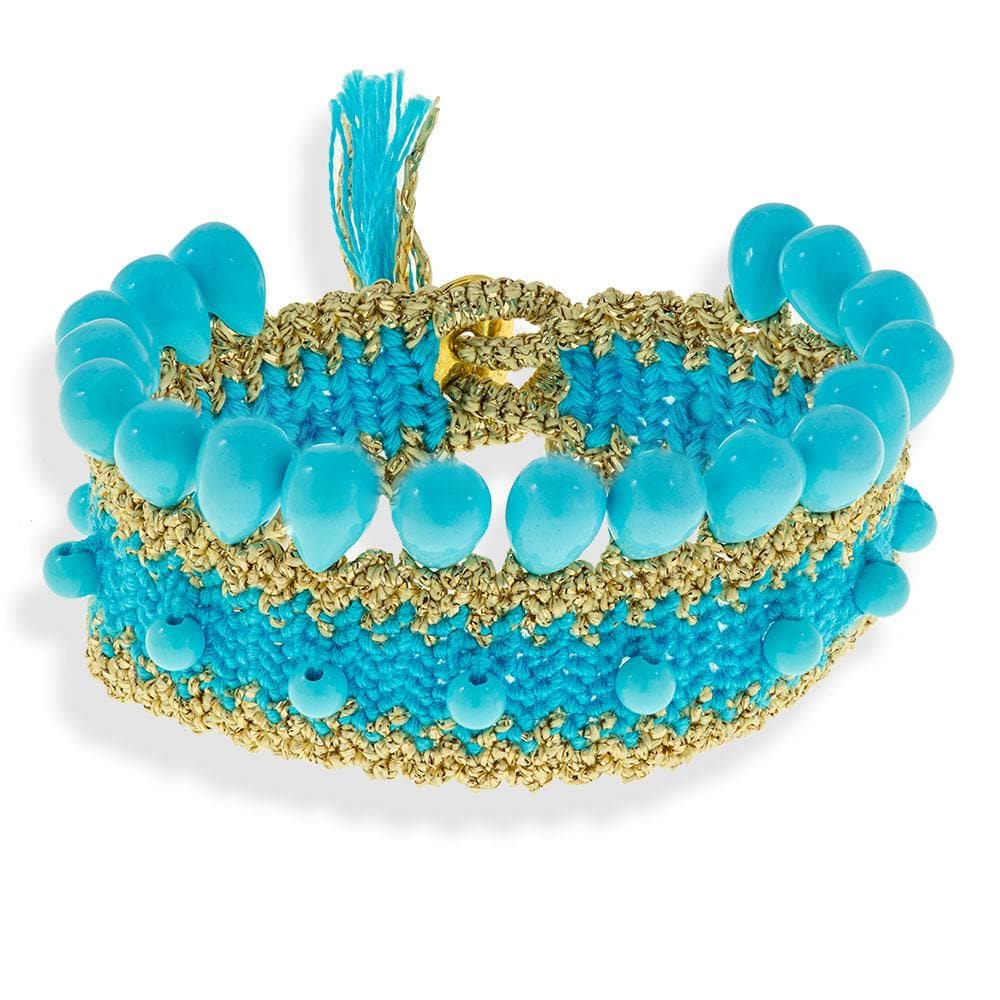 Handmade Macrame Turquoise Gold Bracelet With Turquoise Tears Beads - Anthos Crafts