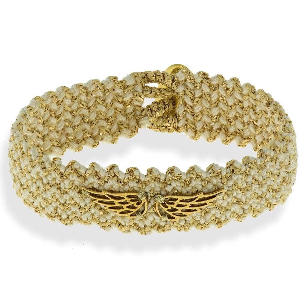 Handmade Macrame Ecru Gold Bracelet With Gold Plated Wings - Anthos Crafts