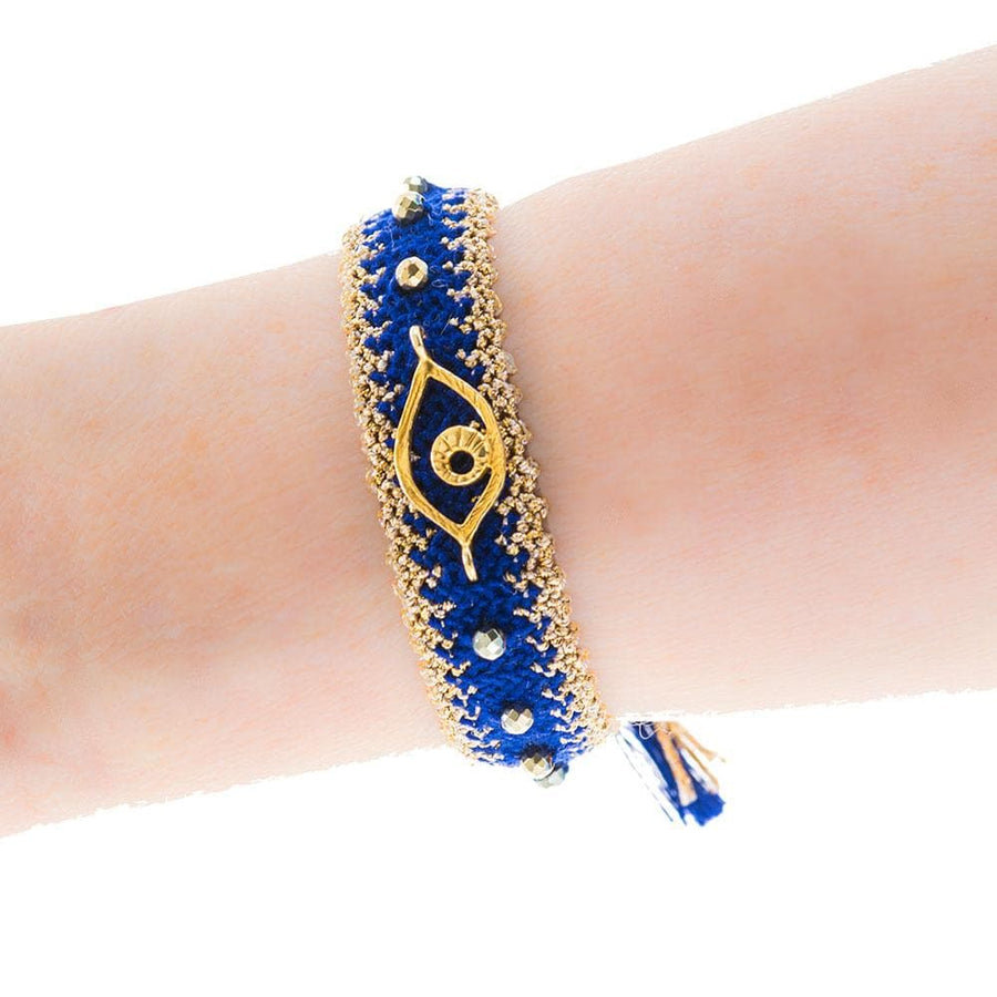 Handmade Macrame Navy Gold Evil Eye Bracelet - Anthos Crafts