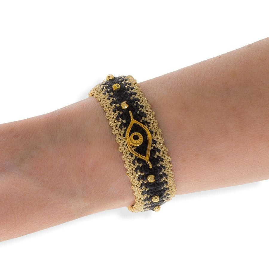 Handmade Macrame Black Gold Evil Eye Bracelet - Anthos Crafts