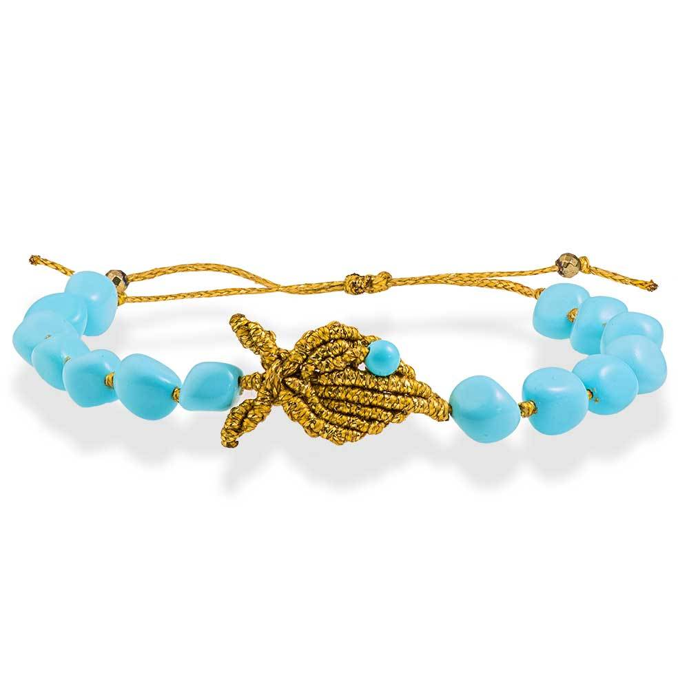 Handmade Macrame Turquoise Gold Bracelet Little Fish - Anthos Crafts
