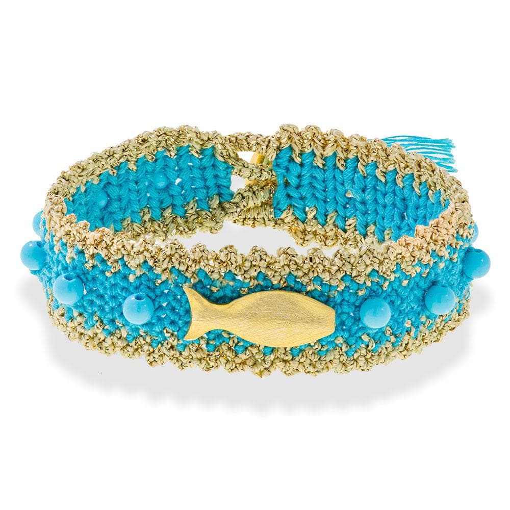 Handmade Macrame Turquoise Gold Fish Bracelet - Anthos Crafts