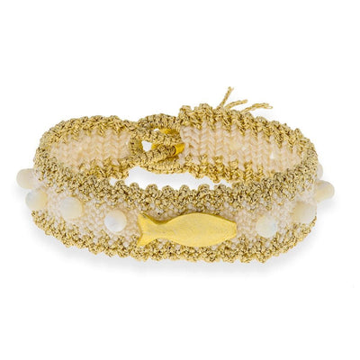 Handmade Macrame Ecru Gold Fish Bracelet - Anthos Crafts